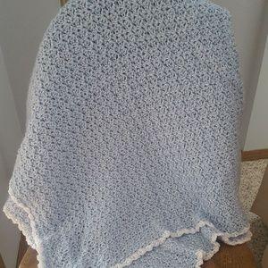 🌼New Handmade Crochet Blue Baby Blanket 52 x 33